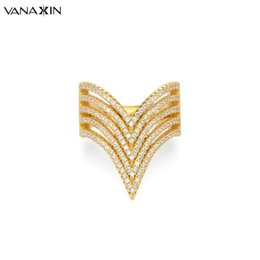 v shape rings for women 2019 - VANAXIN Ring Silver 925 For Women V Shape Rings Fashion Big 925 Sterling Silver Jewelry CZ Zircon Stone Rings for Women