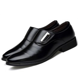 Pointy black dress shoes men online shopping - Brand PU Leather Fashion Men Business Dress Loafers Pointy Black Shoes Breathable Formal Wedding Shoes HH
