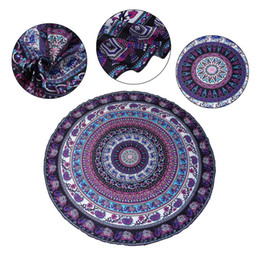 Beach Mats Wholesale Australia - Beach Towel Blanket Polyester Mats Elephant Digital Printed Polyester Blanket Yoga Mat Towels Beach Mat Round Shape