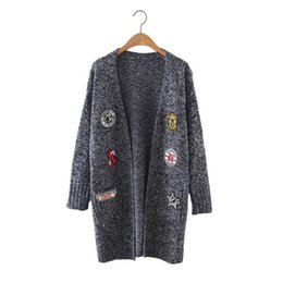 flat patch UK - Women cute pattern patch long cardigan long sleeve warm open stitch autumn winter female streetwear elastic knitted tops SW1042