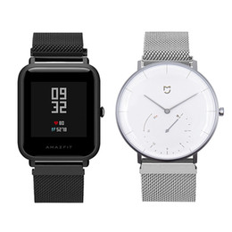 Wholesale EXRIZU Milan Magnetic Watch Strap Stainless Steel Wrist Belts Metal Bracelet for Xiaomi Mijia Quartz Smart Watch Amazfit Bip