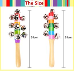 Baby Wooden Bell Rattle Australia - Baby Wooden Toy Cartoon Baby Rattle Rainbow Rattles With Bell Orff musical instruments Educational Orff Instruments Toys