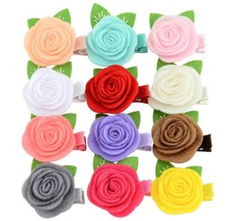 flowers hair clip baby girl NZ - Baby Girls Hairpins Children Hair clips cute Rose Flower With leaf Barrettes for Kids hair bows clips hairclips hair accessories 765
