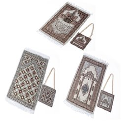muslim prayer carpet Australia - Dropship Portable Muslim Prayer Mat Folding Rug Muslim Islam Carpet With shoulder bag Mubarak Ramadan Kareem Decoration