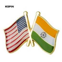 Wholesale india cloths for sale - Group buy U S A India Friendship Flag Metal Pin Badges Decorative Brooch Pins for Cloth XY0295