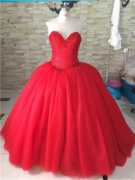 $enCountryForm.capitalKeyWord Australia - 2019 Red Sweetheart Quinceanera Dresses Ball Gown Beaded Sweet 16 Dresses Plus Size Formal Prom Party Gown Vestidos De 15 Anos QC1326
