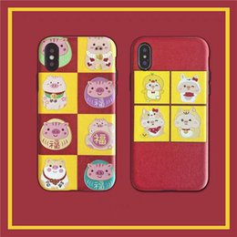 apple couple NZ - Original Creative Cute Lucky Pig Relief Apple 8plus Couple Phone Case iPhone Xs Max Protective Shell