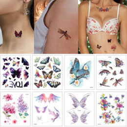 9a9362b37 Flash Glitter Cute Temporary Arm Neck Hand Body Art Tattoo Sticker for  Woman Kid Angel Butterfly Small Lotus Flower Design Waterproof Tattoo
