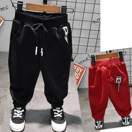 $enCountryForm.capitalKeyWord NZ - WLG Boys autumn spring new style fashion pants kids casual red black all match trousers baby cotton clothes children 2-7 years