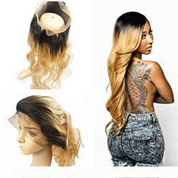 1b 27 human hair extensions UK - 360 Full Lace Frontal Closure #1b 27 Dark Roots Honey Blonde Ombre Brazilian Remy Human Hair Extension Body Wave Swiss Lace