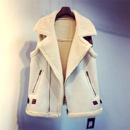 $enCountryForm.capitalKeyWord Australia - Suede faux leather waistcoat Women sleeveless fur jacket coats 2019 Winter female zip vest jackets with belt Fall warm cardigan