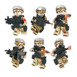 Wholesale Chinese Figures Australia - 6pcs set Military Camouflage Chinese Army Building Blocks Bricks Figures Model Toys Children DIY Gift Toys