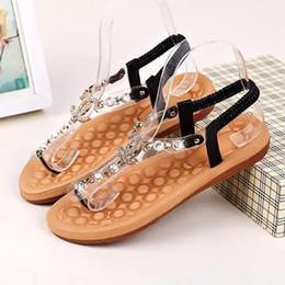 $enCountryForm.capitalKeyWord Australia - 2019 New Bohemian Womens Sandals Crystal Flat Heel Sandalia Rhinestone Chain Women Shoes Thong Flip Flops Zapatos Mujer
