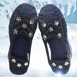 snow shoe grips Australia - 1 Pair 8 Studs Anti-Skid Snow Ice Grips Ice Climbing Shoe Spikes Cleats Crampons Winter Outdoor Climbing Anti Slip Shoes Cover
