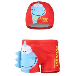 fdfe9f8ef2e81 Swim trunks boy cartoon dinosaur printed swim pant with Swimming cap 2pcs  fashion style boy summer board shorts