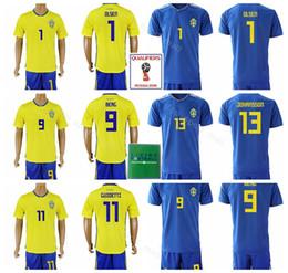 3a6129898f0 2018 World Cup Soccer Jersey Sweden Set Men 9 Emil Forsberg 1 Robin Olsen Football  Shirt Kits 20 Ola Toivonen Custom Name Number