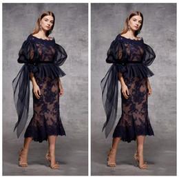Sheath Plus Size Dress Australia - Half Sleeves Lace Appliques Sheath Black Evening Dresses Tea Length 2019 Custom Plus Size Special Occasion Party Gowns Vestidos De Prom Gown