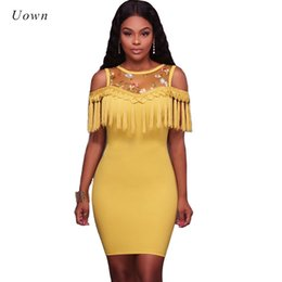 ba73365f27 Embroidered Floral Cold Shoulder Dress Sexy Bodycon Tassel Dress Women  Summer Mesh Patchwork Fringe Nighclub Party Dresses