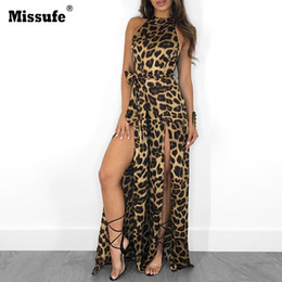 Halter Neck Jumpsuits For Women Australia - Missufe Sexy Leopard Print Off Shoulder Jumpsuit Halter Split Loose Long Playsuit Bandage Rompers Club Party Overalls For Women Y19062201