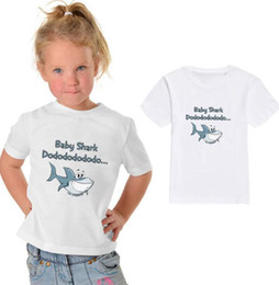 T shirT prinTing boy girl prinT online shopping - kids baby shark t shirt Cartoon Print Kids Baby Boy Tops baby shark Short Sleeve T Shirt Summer Tee Toddler Girl Shirts LJJK1489