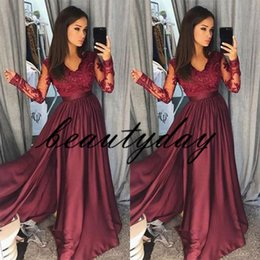 Wholesale Hot Burgundy Prom Dresses Sheer Vintage Long Sleeves A Line V Neck Lace Side Split Formal Evening Party Wear Pageant Gowns Arabic