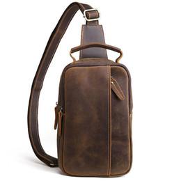 Hard Back Pack Australia - 2019 Men Vintage Crazy Horse Genuine Leather Cowhide Sling Chest Back Bag Handbag Cross Body Messenger Shoulder Pack Travel Bag Y19062003