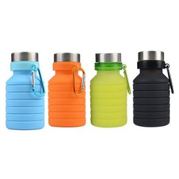 Folding Camping Kettle UK - 550ML Travel Silicone Retractable Folding Kettle Outdoor Telescopic Collapsible Folding Water Bottles for Hiking Camping Picnic W8867