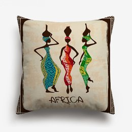 $enCountryForm.capitalKeyWord NZ - Oil Painting African Women Dance Cushion Covers Vintage Retro Style Africa Life Culture Art Cushion Cover Sofa Linen Cotton Pillow Case
