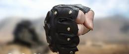 Leather Rivet Gloves Australia - Rivet half-finger sport gloves wear-resistant tactical outdoor leather gloves