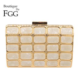 Handbag Boutiques NZ - Boutique De FGG Marble Print Beige Acrylic Women Metal Clutches Evening Bag Hard Case Party Dinner Chain Shoulder Clutch Handbag