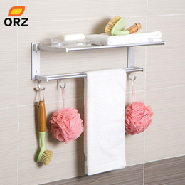 wall mounted towel bars Canada - ORZ Bathroom Shelf Foldable Towel Holder Rack Storage Organizer Wall Mounted Storage Hooks Towel Bar Toilet Rack Bath Organizer