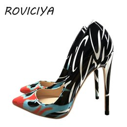 f6653a26dc Pumps Women Shoes High Heel 12 cm Sexy Pointed Toe Printed Multi Stilettos  Wedding Valentine Brand Designer Shoes QP052 ROVICIYA