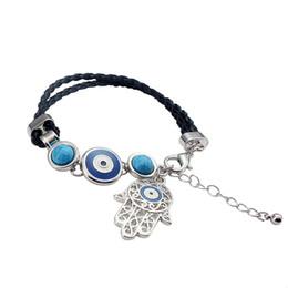 devil leather 2019 - Leather Charm Bracelet Pendant Devil Eye Leather Weave Friendship Palm Bangle Jewelry Fatima Evil Eye Bracelet Gift Hand
