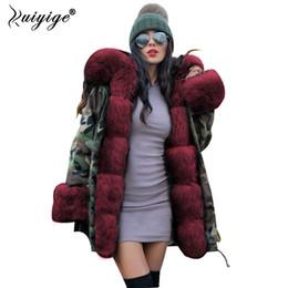 Wholesale khaki jeans jacket for sale – denim Ruiyige New Women Winter Coat Red Fur Hooded Jeans Jacket Woman Parkas Winter Long Warm Coats Female Parka Plus Size