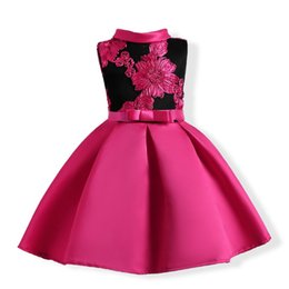 style ball Australia - American Style Girls High Quality Satin Sleeveless Turtleneck Dress For Performance Childrens Embroidered Princess Ball Gown Dress