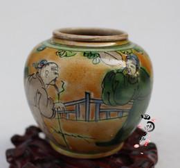 $enCountryForm.capitalKeyWord Australia - Antique old painted figures pearl pot antique ceramics living room decoration antique ornaments folk collection jar