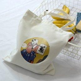 Cartoons Ladies Handbag Shopping NZ - Women's Canvas Bag Cartoon Cat Cloth Shopping Bags Female Large Capacity Shoulder Tote Bag Eco Reusable Shopper Ladies Handbags