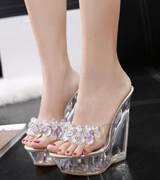 Wholesale Womens Clear Transparent High Wedge Platform Slippers Rhinestones Diamond Mules Crystal Shoes Bling CM A253
