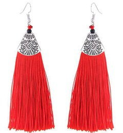 TibeT silver vinTage online shopping - Women dangle drop earrings vintage ladies stylish geometric silver color tassel earrings for women party pendant