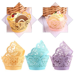 cupcake baking Australia - 12pcs lot Little Vine Lace Laser Cut Cupcake Wrapper Liner Baking Cup Hollow Paper Cake Cup DIY Baking Fondant Cupcake Wedding Decoration