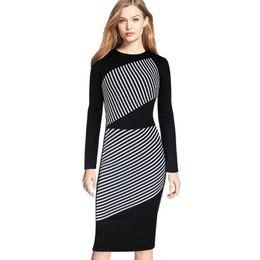 $enCountryForm.capitalKeyWord Australia - Fashion-Plus Size Women Dress Black White Striped Long-sleeved Dresses Sexy Slim Package Hip Pencil Dress Casual Over Size Dress Wholesale