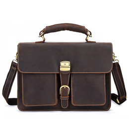 Leather Bag For Inches Australia - Johnature 2019 New Vintage Genuine Leather Briefcase Men Computer Bags Large Bags For Laptops Handbags&Crossbody 15 Inches