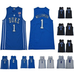 085c4ab0a02 2019 NCAA Duke Blue Devils Jersey 1 Zion Williamson 5 RJ Barrett 2 Reddish  Royal Blue Black White College Basketball Jerseys Men Women Youth