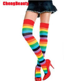 ba23b55a462 Women Stockings Cute Cotton Thigh High Mixed Colored Rainbow Striped Long  Stockings Knitted Ladies Over The Knee Socks