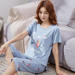 Discount sport pajamas - Summe pajamas for women round neck short-sleeved T-shirt +calf pants 2 pcs leisure sports plus size nuisette femme de nu