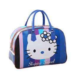 ce111e45d2b55 Women PU Leather Travel Bag Cute Hello Kitty Packing Cubes Duffel Pouch  Organizer Luggage Accessory Overnight Weekend Handbag