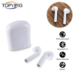 Wireless Headphones Mic Blue Australia - TOPYING Bluetooth Earphones Wireless Headphones Sport I7 I7S Tws Earbuds Headset With Charging Box Mic For Ios And Android phone