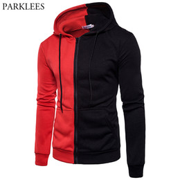 481b64be Red Black Patchwork Hoodies Men Women Hooded Sweatshirt 2018 Brand New Slim  Fit Pullover Hoody Zipper Tracksuit Male Sweat Homme