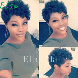 Discount afro hair wigs for african woman - Top Grade Short Curly Black Cute Wig African Afro human Hair Wigs For Black Women Curly Short Female Wig