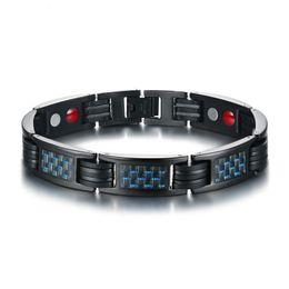 $enCountryForm.capitalKeyWord Australia - 11.5MM Black Fashion Men's Germanium Magnets Bangle Stainless Steel Carbon Fiber Bracelet Watchband Jewelry Gift for Men Boys J094